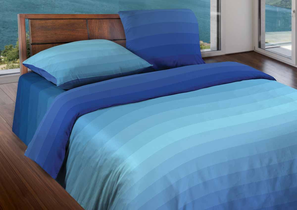 Комплект белья Wenge Flow, 1,5-спальный, наволочки 70x70, цвет: голубой