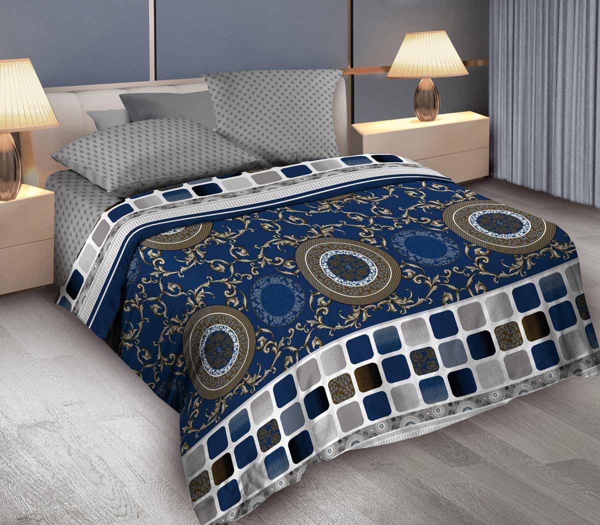 Комплект белья Wenge Bruno, евро, наволочки 70x70, цвет: синий