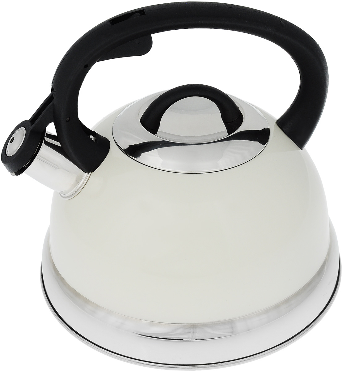 Чайник Mayer & Boch, со свистком, цвет: белый, черный, серебристый, 2,6 л. 2929Чайник Mayer & Boch выполнен из высококачественной нержавеющей стали, что делает его весьма гигиеничным и устойчивым к износу при длительном использовании. Носик чайника оснащен насадкой-свистком, что позволит вам контролировать процесс подогрева или кипячения воды. Фиксированная ручка, изготовленная из пластика, делает использование чайника очень удобным и безопасным. Поверхность чайника гладкая, что облегчает уход за ним. Эстетичный и функциональный чайник будет оригинально смотреться в любом интерьере.Подходит для всех типов плит, включая индукционные. Можно мыть в посудомоечной машине.Высота чайника (с учетом ручки и крышки): 20,5 см.Диаметр чайника (по верхнему краю): 10,5 см.Диаметр основания: 21 см.Диаметр индукционного диска: 14,5 см.