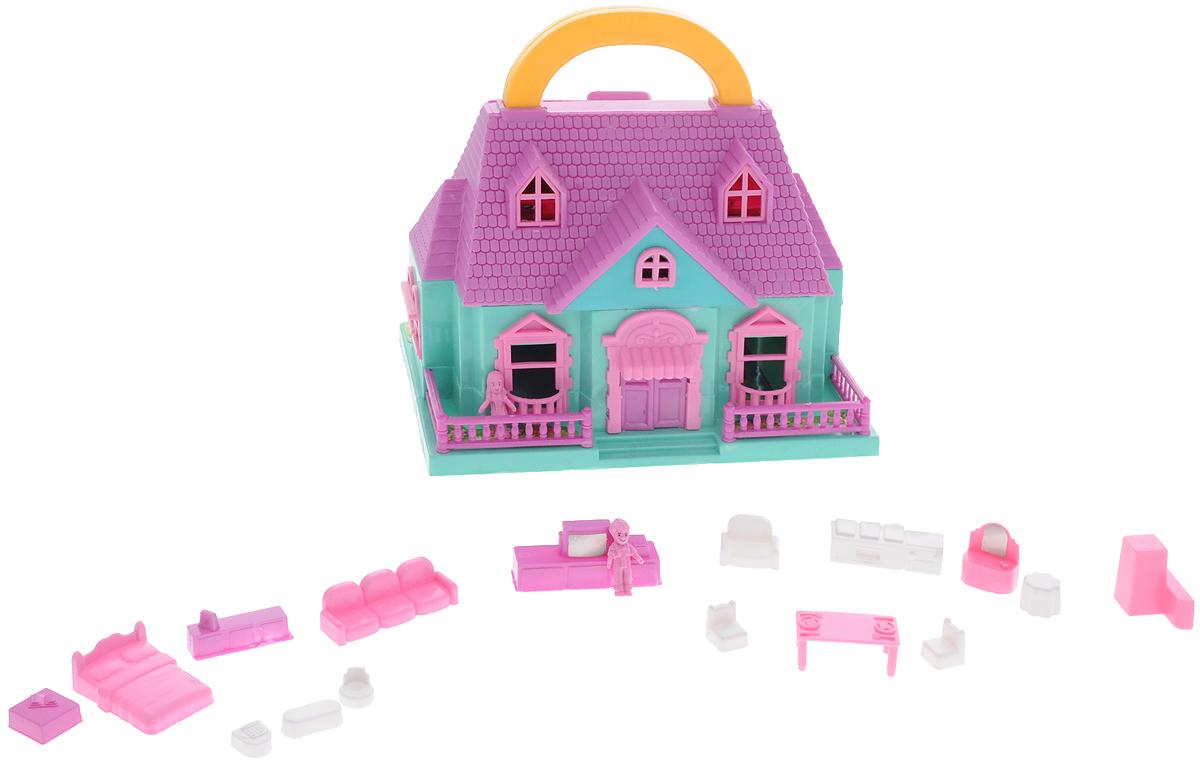 ABtoys Дом для кукол цвет сиреневый бирюзовый розовый большой дом для кукол купить