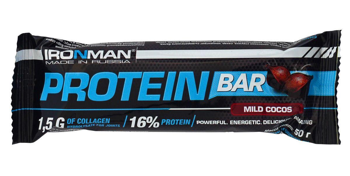 Батончик энергетический Ironman Protein Bar, с коллагеном, кокос, темная глазурь, 50 г4607062750650Энергетический протеиновый батончик Protein Bar с коллагеном. Этот высокобелковый батончик является прекрасным источником ценных и легкоусвояемых протеинов. Состав: глюкозный сироп, шоколадная глазурь, концентрат сывороточного белка, концентрат молочного белка, кокосовая стружка, мальтодекстрин, сахарный сироп, гидролизат коллагена, шоколадная крошка, какао-порошок, глицерин, жир кондитерский, исправленная вода, сорбат калия, ароматизатор идентичный натуральному, смесь витаминов, аскорбиновая кислота. Пищевая ценность на 100 г: Белки 16 г, коллаген 1,5 г, жиры 11 г, углеводы 48 г, энерг. ценность 355 кКал.Товар сертифицирован.Как повысить эффективность тренировок с помощью спортивного питания? Статья OZON Гид