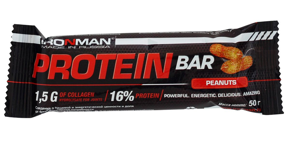 Батончик энергетический Ironman Protein Bar, с коллагеном, орех, темная глазурь, 50 г4607062750667Энергетический протеиновый батончик Protein Bar с коллагеном. Этот высокобелковый батончик является прекрасным источником ценных и легкоусвояемых протеинов. Состав: глюкозный сироп, шоколадная глазурь, концентрат сывороточного белка, концентрат молочного белка, кокосовая стружка, мальтодекстрин, сахарный сироп, гидролизат коллагена, шоколадная крошка, какао-порошок, глицерин, жир кондитерский, исправленная вода, сорбат калия, ароматизатор идентичный натуральному, смесь витаминов, аскорбиновая кислота. Пищевая ценность на 100 г: Белки 16 г, коллаген 1,5 г, жиры 11 г, углеводы 48 г, энерг. ценность 355 кКал.Товар сертифицирован.Как повысить эффективность тренировок с помощью спортивного питания? Статья OZON Гид