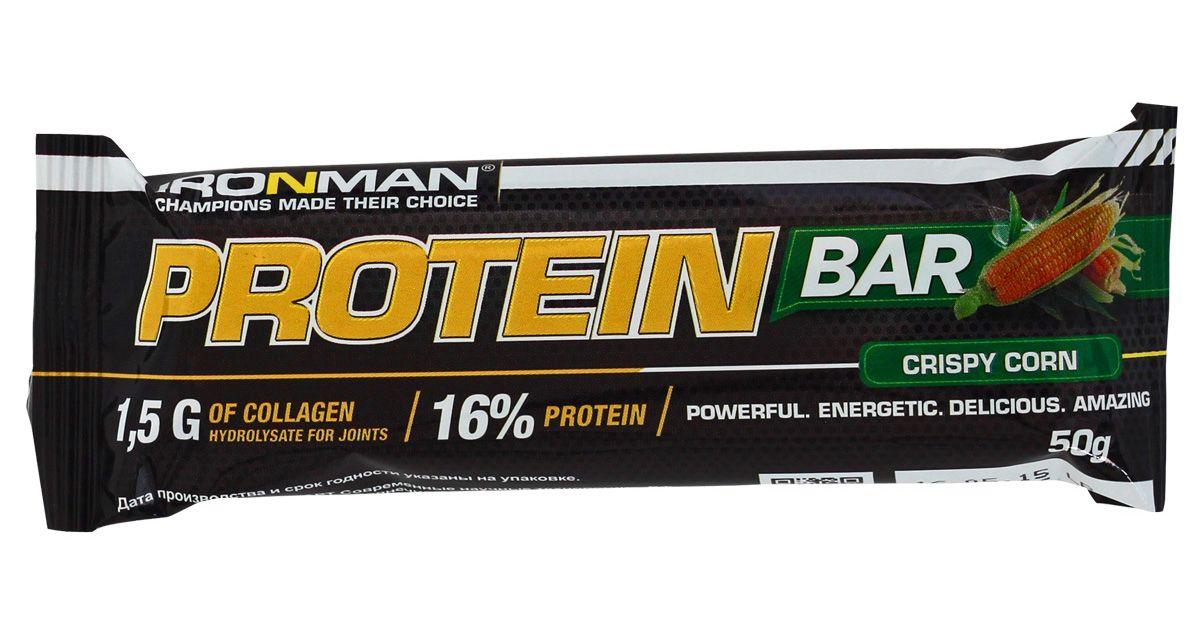 Батончик энергетический Ironman Protein Bar, с коллагеном, кукуруза, белая глазурь, 50 г батончики спортивные академия т батончик champions high protein bar 40 г шоубокс 16 шт