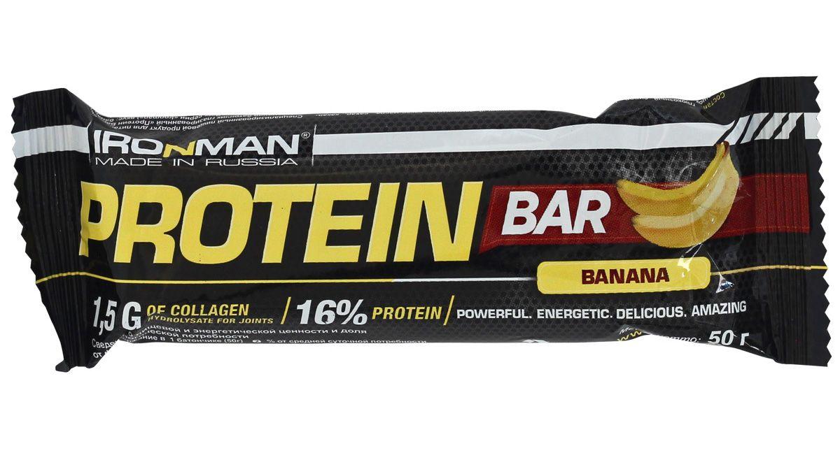 """Батончик энергетический Ironman """"Protein Bar"""", с коллагеном, банан, темная глазурь, 50 г"""