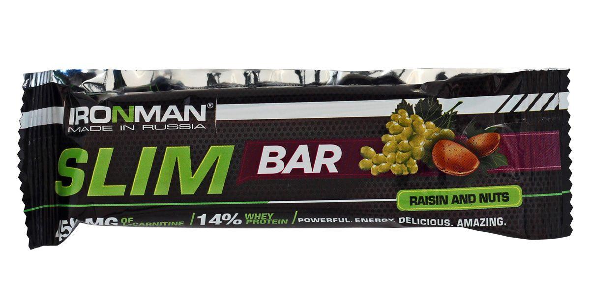 """Батончик энергетический Ironman """"Slim Bar"""", с L-карнитином, изюм-орех, темная глазурь, 50 г"""