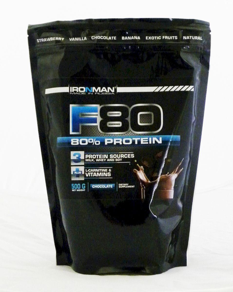 Протеин Ironman Формула 80, шоколад, 500 г4607062758885Протеин Формула 80 - концентрированный протеиновый напиток, содержащий 80% высококачественных белков. Обогащен L-карнитином и витаминами. Четырехкомпонентный белок формулы представлен белками молока (казеинатами кальция и натрия, лактальбумином, лактоглобулином), белым яичным альбумином и белком сои. Взятые в специальном соотношении, эти белки обеспечивают наиболее высокую биологическую ценность продукта и оптимальный аминокислотный профиль, который на 20% представлен разветвленными аминокислотами. Кроме того, этот протеиновый напиток обогащен 10 витаминами, содержит 800 мг L-карнитина в упаковке, а также Ca и Mg для эффективного восстановления нервной системы после тренировки и укрепления костей F80 содержит все необходимое для эффективного формирования мускулатуры. Чтобы активно тренирующемуся атлету рассчитать дневную потребность в белке в граммах, необходимо умножить собственный вес в килограммах на 2-2,5. До 50% дневной потребности в белке вы можете обеспечить с помощью данной высококонцентрированной формулы.Состав: концентрат молочного белка, концентрат сывороточного белка, белый яичный альбумин, соевый изолят, карбонат Mg, аспартам, натуральный или идентичный натуральному ароматизатор, загуститель, L-карнитин, смесь витаминов, какао для вкуса шоколад.Содержание питательных веществ в порции (25 г): Белок 20 г, углеводы 2 г, жиры 0,2 г, калории 90 кКал, кальций 238 мг, магний 28 мг,L-карнитин 50 мг. Добавленные витамины витамин С 16,5 мг, витамин Е 4,1 мг, витамин В1 0,57 мг, витамин В2 0,53 мг, витамин В6 0,73 мг, витамин В12 0,33 мкг, витамин В3 4,9 мг, витамин Н 0,04 мг, пантотеновая кислота 3,15 мг, фолиевая кислота 0,11 мг. Аминокислотный состав (незаменимые аминокислоты) на 100 г: белка аланин 3800 мг, аргинин 5300 мг, аспарагиновая кислота 9100 мг, валин 6000 мг, гистидин 2600 мг, глицин 3000 мг, глютаминовая кислота 17900 мг, изолейцин 5100 мг, лейцин 8300 мг, лизин 6800 мг, метионин 2300 мг, пролин