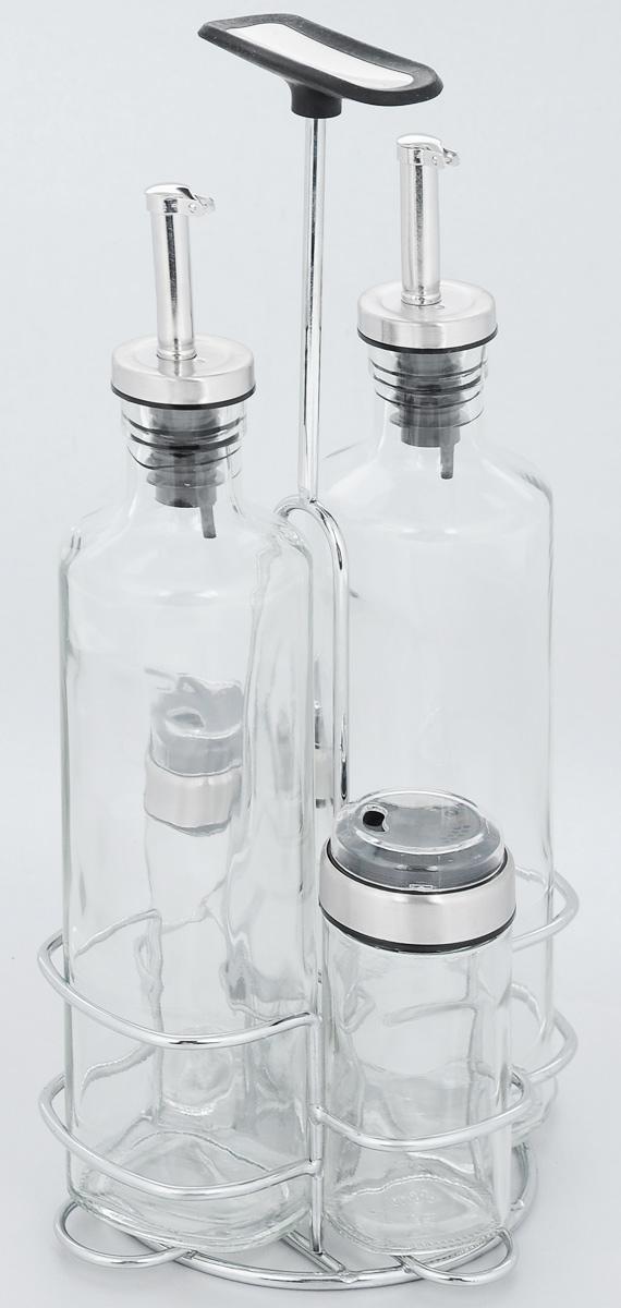 Набор емкостей для специй Nadoba Petra, 5 предметов741015Набор Nadoba Petra состоит из 2 бутылок для уксуса/масла, солонки, перечницы и подставки. Емкости выполнены из прозрачного ударопрочного стекла и снабжены герметичными крышками. Для хранения емкостей предусмотренаподставка, изготовленная из хромированной стали, с прорезиненной ручкой. Такой набор поможет хранить под рукой самые часто используемые специи. Изделия можно мыть в посудомоечной машине. Объем емкостей для уксуса/масла: 350 мл. Высота емкостей для уксуса/масла: 26 см. Объем емкостей для солонки/перечницы: 80 мл. Размер емкостей для солонки/перечницы: 4 х 4 х 10 см. Размер подставки: 14,5 х 13,5 х 30 см.
