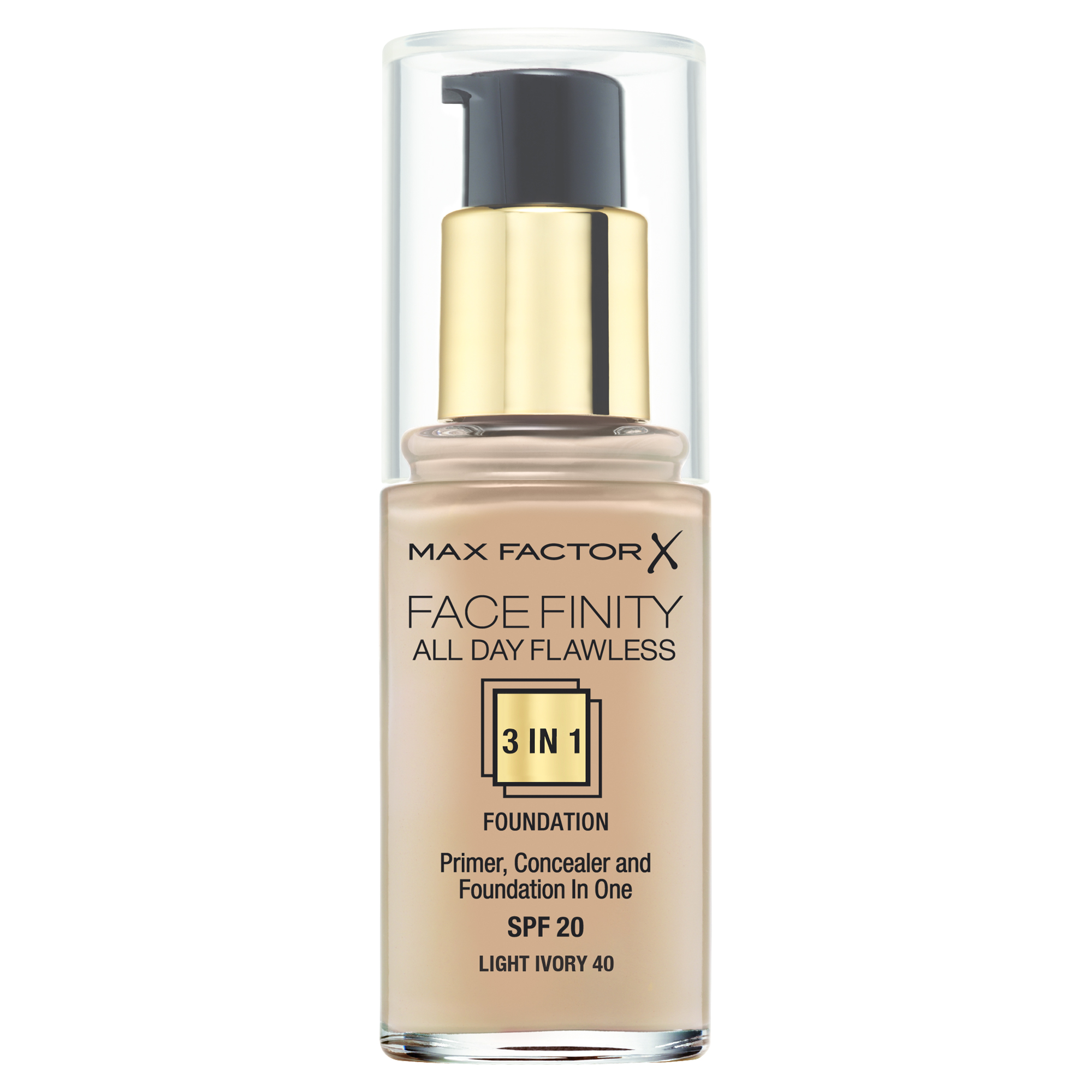 "Max Factor Тональная основа 3в1, SPF 20 ""Facefinity All Day Flawless"", тон №40 (light ivory), 30 мл"