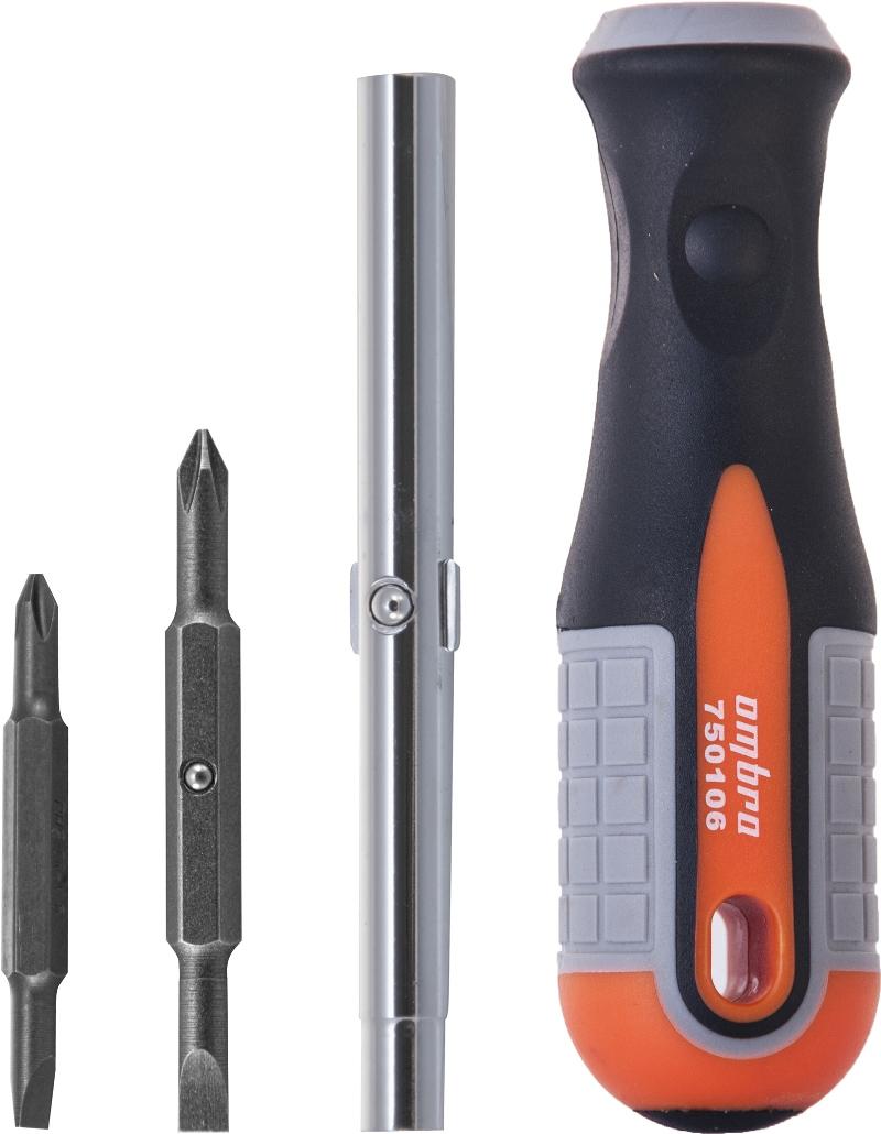 Отвертка Ombra Round Grip, 4 предмета750106Отвертка выполнена из высококачественных материалов. Комфортная рукоятка с мягкими зонами, превращает работу в удовольствие. Применяется для производства слесарно-монтажных работ с внутренними профилями: шлиц прямой SL5, SL6; крест PH1, PH2.Также инструмент можно использовать в качестве держателя для бит различного профиля 1/4DR и 5/16DR или инструмента для затяжки винтовых хомутов. Характеристики: Длина рукоятки: 12см.Длина бит: 6,5см, 7,5см.