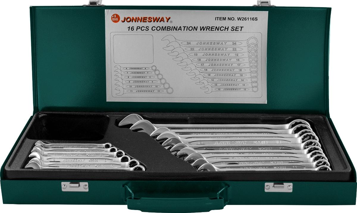 Набор комбинированных ключей Jonnesway, 16 предметов унив набор торцевых головок jonnesway 1 4dr 4 13 мм и 1 2dr 8 32 мм комбинированных ключей 6 32 мм и отверток 128 предметов