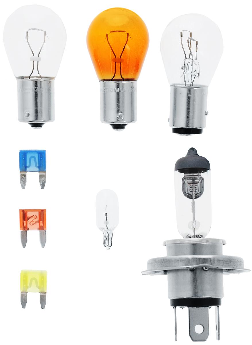 Комплект ламп Philips H4 Vision Essential Box: H1, P21W, P21/5W, PY21W, W5W, Fuse10A, Fuse 15A, Fuse 20A. 55718EBKM55718EBKMВ комплект Essential Box входят лампы H4 для автомобильных фар, обеспечивающие на 30 % больше света. Наши лампы излучают мощный точно направленный луч света и характеризуются высокой светоотдачей, увеличивая видимость Вашего автомобиля на дороге.