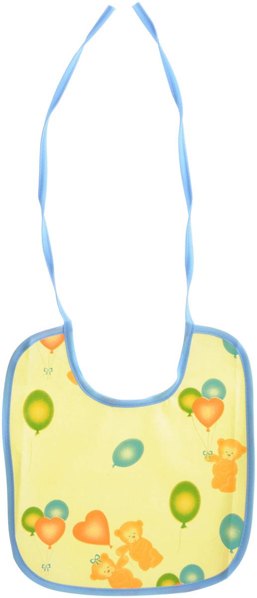 Колорит Нагрудник Мишки с шариками цвет желтый голубой 20 см х 22 см
