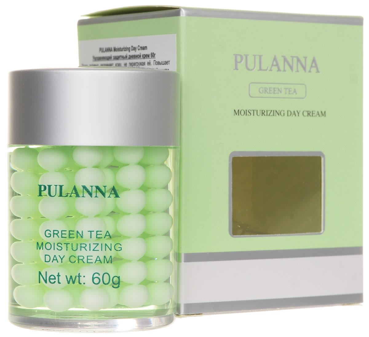 Pulanna Увлажняющий защитный дневной крем на основе зеленого чая-Moisturizing Day Cream 60 г5902596005566Крем активно увлажняет кожу, не перегружая ее. Повышает сопротивляемость кожи к негативным внешним воздействиям, укрепляет сосуды, обладает антиоксидантным действием. За счет введенного в состав крема витамина Е повышается клеточный иммунитет, стимулируются процессы клеточного метаболизма, увеличивается продолжительность жизни клеток. Крем сохраняет влагу в клетках кожи, поддерживает ее упругость. Повышает эластичность и тонус кожи. В состав введены природные фотофильтры. Рекомендован для нормального, комбинированного типов кожи (в том числе для чувствительной) с 20 лет.