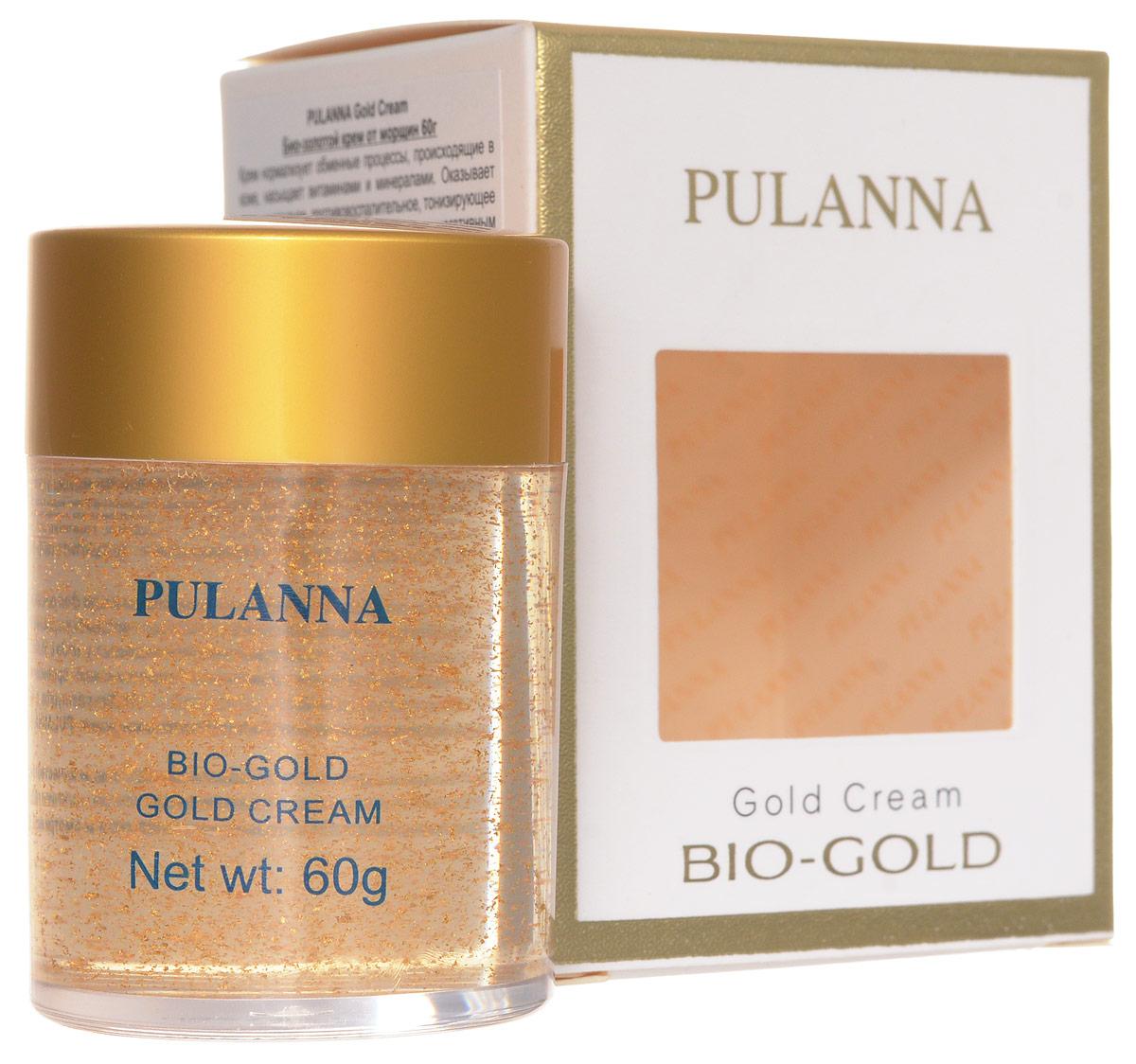 Pulanna Био-золотой крем от морщин на основе био-золота - Gold Cream 60 г5902596005016Крем нормализует обменные процессы, происходящие в коже, насыщает витаминами и минералами. Оказывает антиоксидантное, противовоспалительное, тонизирующее действие. Повышает сопротивляемость кожи к негативным внешним воздействиям. Ускоряет регенерацию клеток кожи, смягчает и увлажняет. Био-золото обеспечивает коже длительное, глубокое увлажнение и питание. Экстракт женьшеня и алоэ ускоряет регенерацию клеток, регулирует обменные процессы и тонизирует. Экстракт водорослей - источник важных минералов, полисахаридов, регуляторных молекул (цитокинов), антиоксидантов - очищает, смягчает, тонизирует. Оказывает тонизирующее, антиоксидантное, стимулирующее и укрепляющее действие. Повышается эластичность кожи, выравнивается ее рельеф, повышается тонус, сглаживаются морщины и мимические линии. Кожа становится более мягкой и эластичной, морщинки и линии менее выражены. Рекомендован для всех типов кожи с 40 лет в качестве основного ухода, с 35 лет курсами (28-30 дней).