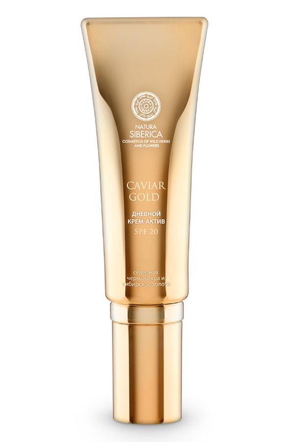 Natura Siberica дневной крем-актив Инъекция молодости SPF 20 Caviar Gold 30 мл086-0-34042Невесомая текстура крема для лица моментально впитывается вашей кожей и создает естественный сияющий тон. Особые 3D-пигменты скрывают небольшие изъяны и улучшают внешний вид кожи. Бархатистая текстура крема с эффектом свежести прекрасно увлажняет и ухаживает за вашей кожей. Стимулирует выработку коллагена, уменьшает морщины и восстанавливает естественный вид кожи. · Экстракт черной икры, всемирно известный своими уникальными омолаживающими свойствами, насыщен протеинами и коллагеном, минералами и витаминами, благодаря чему эффективно предотвращает процесс старения, активизирует процессы восстановления клеток и выработки коллагена.· Золотые пептиды активизируют синтез собственного коллагена и эластина, активно восстанавливают поврежденные клетки - основную причину старения кожи, а также усиливают действие других активных компонентов. Доказанная клиническая эффективность (1): уменьшение глубины морщин на 55% Увеличение синтеза коллагена I на 230,49%.· Гиалуроновая кислота восстанавливает способность кожи удерживать влагу. Кожа восполняет водный баланс и приобретает здоровый вид.· Полипептид Syn-Ake (содержание в креме 4%) разглаживает кожу и борется с мимическими морщинами. Доказанная клиническая эффективность (2): уменьшение глубины морщин на 52%. · Комплекс Vitagenyl стимулирует гены защиты, тем самым увеличивает продолжительность жизни клетки, сохраняя молодость кожи.· 3D-пигменты улучшают и выравнивают тон кожи, обладая оптическим светоотражающим эффектом.