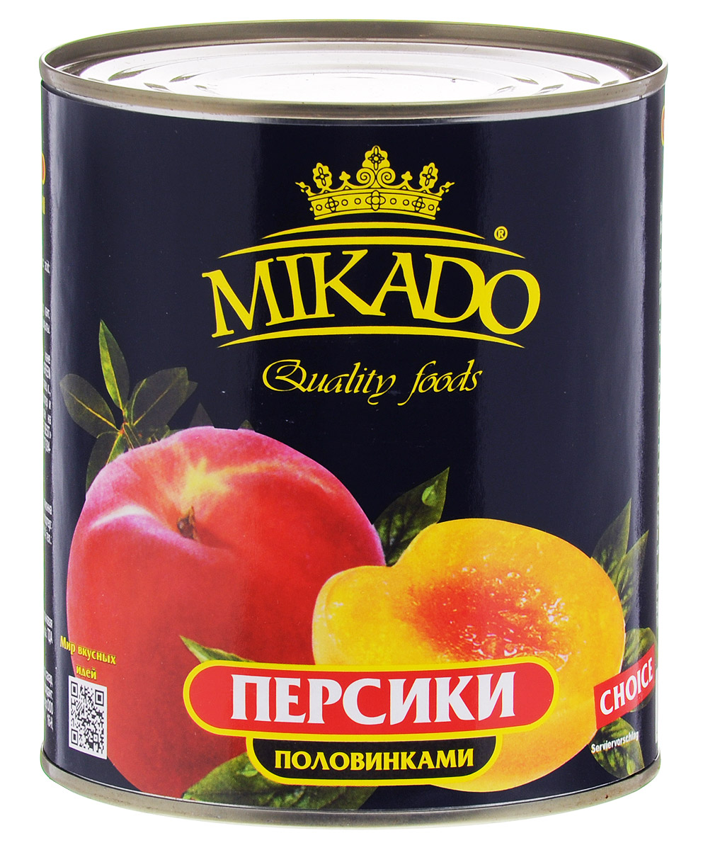 Mikado персики половинками в сиропе, 425 мл mikado sensual bream hs9307 12bn