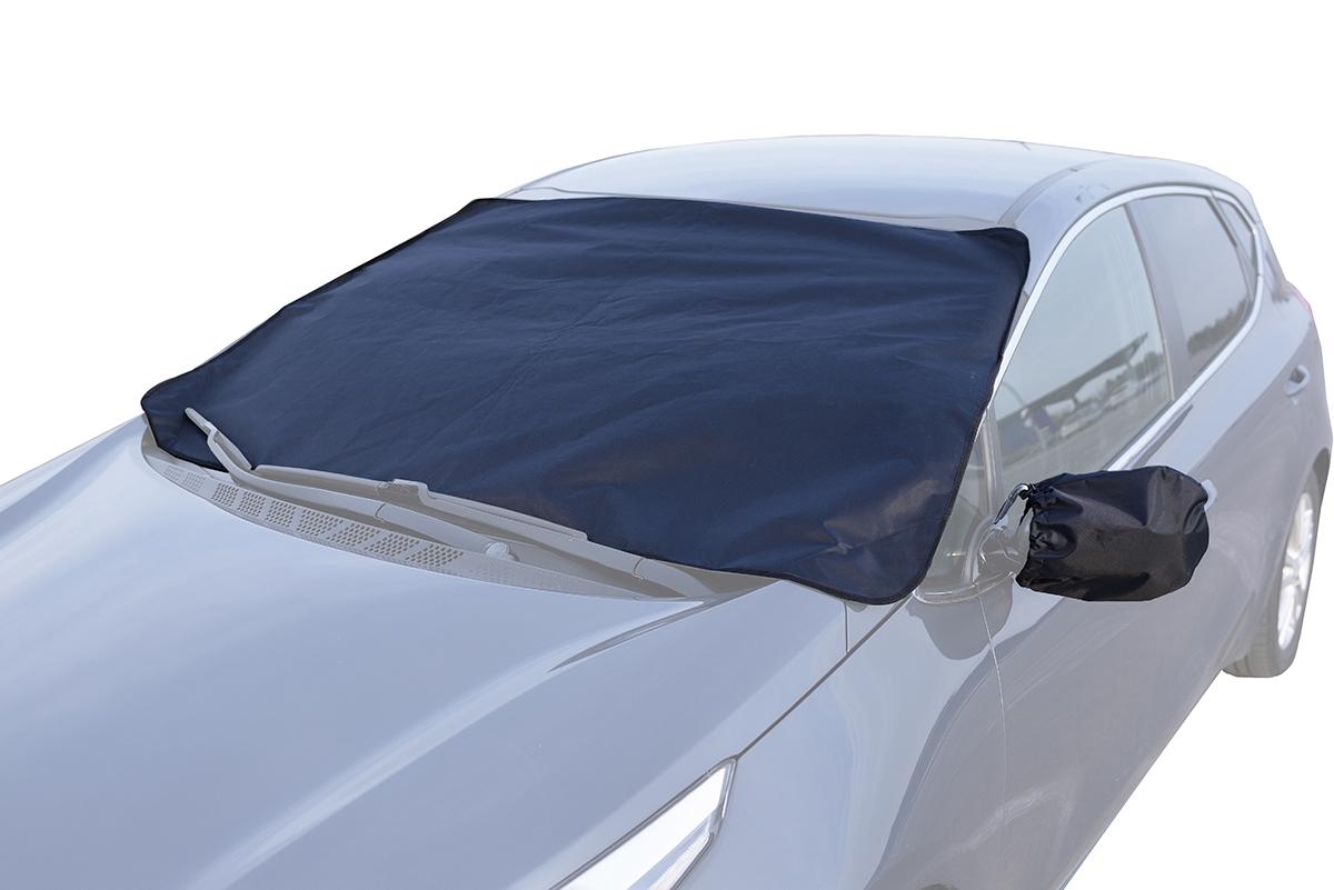 Защитный экран AvtoTink для лобового стекла + чехлы для боковых зеркал75002Защитный экран AvtoTink от наледи на лобовое стекло No Frost защищает лобовое стекло от налипания снега и образования ледяной корки во время стоянки автомобиля.Преимущества: - универсальный размер и способ крепления- оснащен объемными клапанами, которые фиксируются дверями автомобиля - также экран крепится магнитами к металлическим частям кузова, что дает полное прилегание экрана к лобовому стеклу, защиту от воздействия ветра - экономия времени - не нужно удалять ледяную корку (скребком, прогреванием, авто-химией)- экономия топлива (за счет сокращения времени прогрева автомобиля)- продлевает срок службы лобового стекла - защита щеток стеклоочистителя от примерзания и дополнительного износа.Размер чехлов: 156 х 127 х 95 см.