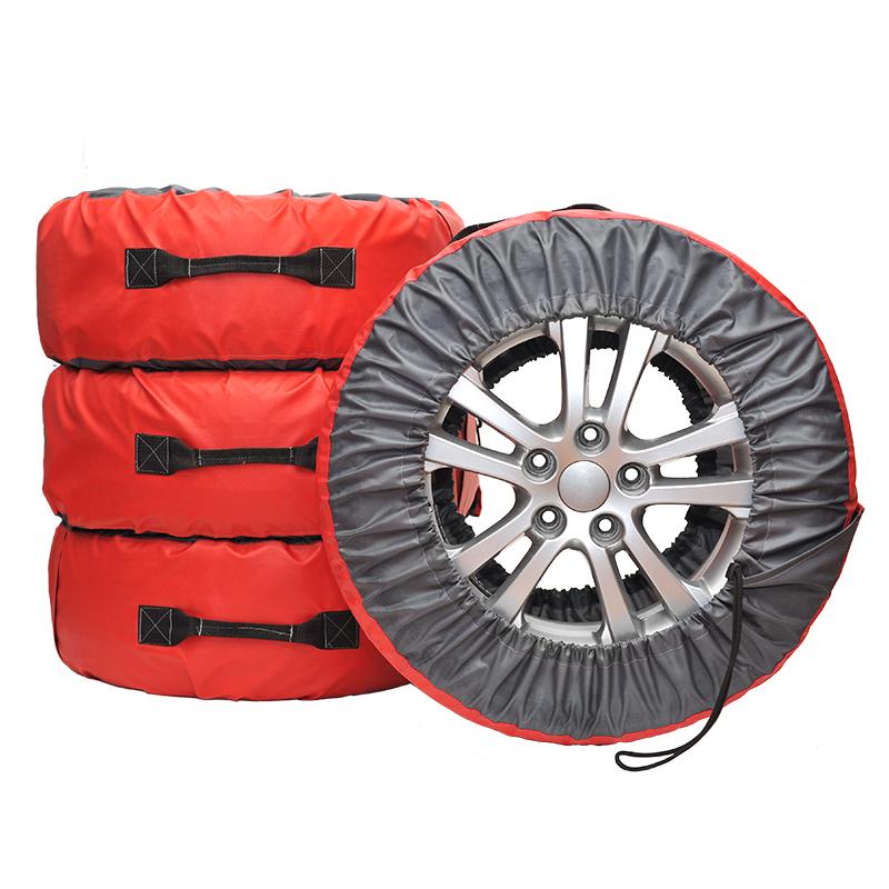 Чехлы для хранения автомобильных колес AvtoTink Премиум XL, от 16 до 22, 4 шт84001/1Чехлы AvtoTink Премиум XL выполнены из двух видов контрастной ткани, отличающихся по плотности. Кордовая часть чехлы выполнена из уплотненной ткани Оксфорд красного цвета. Высокая плотность ткани позволяет увеличить срок использования чехла при хранении и транспортировке даже шипованой резины. Ручка выполнена из материала Стропа. Надежная крестовая отстрочка выдержит высокие нагрузки, при транспортировки колес максимального радиуса. Чехол оснащен удобным карманом для хранения крепежных болтов или необходимой документации. Размер чехлов регулируется при помощи фиксаторов шнуров и широкой липучке-застежки. Подходит для колес диаметром от 670 мм до 810 мм.