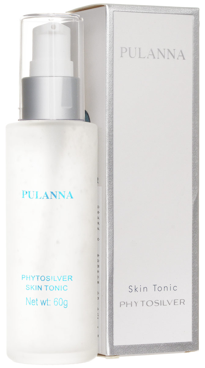 Pulanna Тоник для лица на основе био-серебра - Phytosilver Skin Tonic 60 г65201После каждого очищения кожи очищающим молочком рекомендуется применять тоник. Средство сужает поры, препятствует их закупорке, регулирует работу сальных желез, препятствует размножению бактерий (предотвращает воспалительные процессы). Также снимает напряжение, воспаления, ускоряет регенерацию клеток, регулирует обменные процессы. Кожа протонизирована и подготовлена к дальнейшему уходу.Рекомендован для нормального, комбинированного и жирного типов кожи с 18 лет. Тоник также может использоваться в качестве легкого флюида для лица вместо дневного крема. Серия косметических средств PULANNA на основе био-серебра награждена Почетной Золотой медалью РАЕН им. И. И. Мечникова За практический вклад в укрепление здоровья нации.
