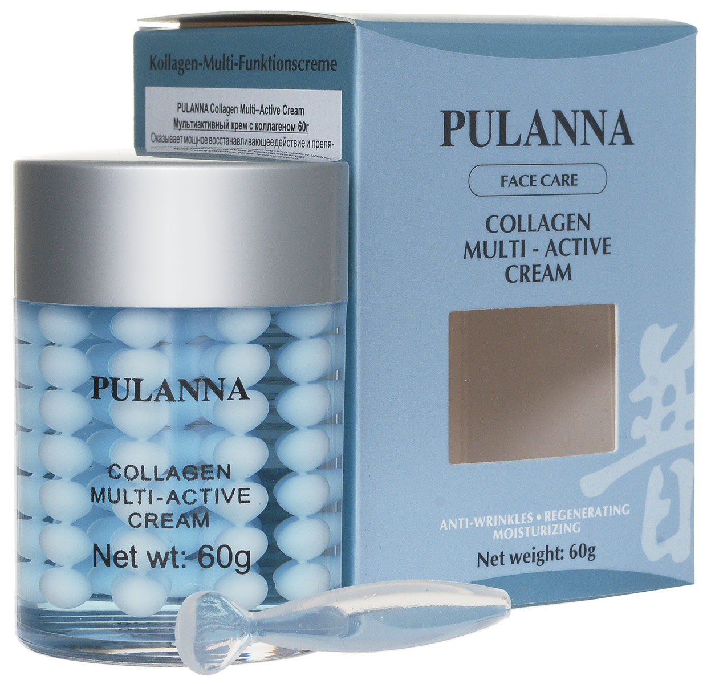 Pulanna Мультиактивный крем с коллагеном на основе коллагена - Collagen Multi–Active Cream 60 г5902596005610Крем оказывает мощное восстанавливающее действие и препятствует преждевременному старению кожи. Крем содержит натуральные компоненты, которые оказывают синергетическое (взаимодополняющее) воздействие, обеспечивая полноценный уход за зрелой кожей, склонной к потере упругости и эластичности. Благодаря высококонцентрированному морскому коллагену улучшает процесс регенерации в эпидермисе и стабилизирует уровень увлажненности. Защищает от агресси внешней среды, оживляет, питает клетки кожи. Сокращает видимость морщин и рельефность кожи. Обладает выраженным лифтинг-эффектом.Рекомендуется для любого типа кожи с 35 лет-курсами, с 40 лет в качестве основного ухода.