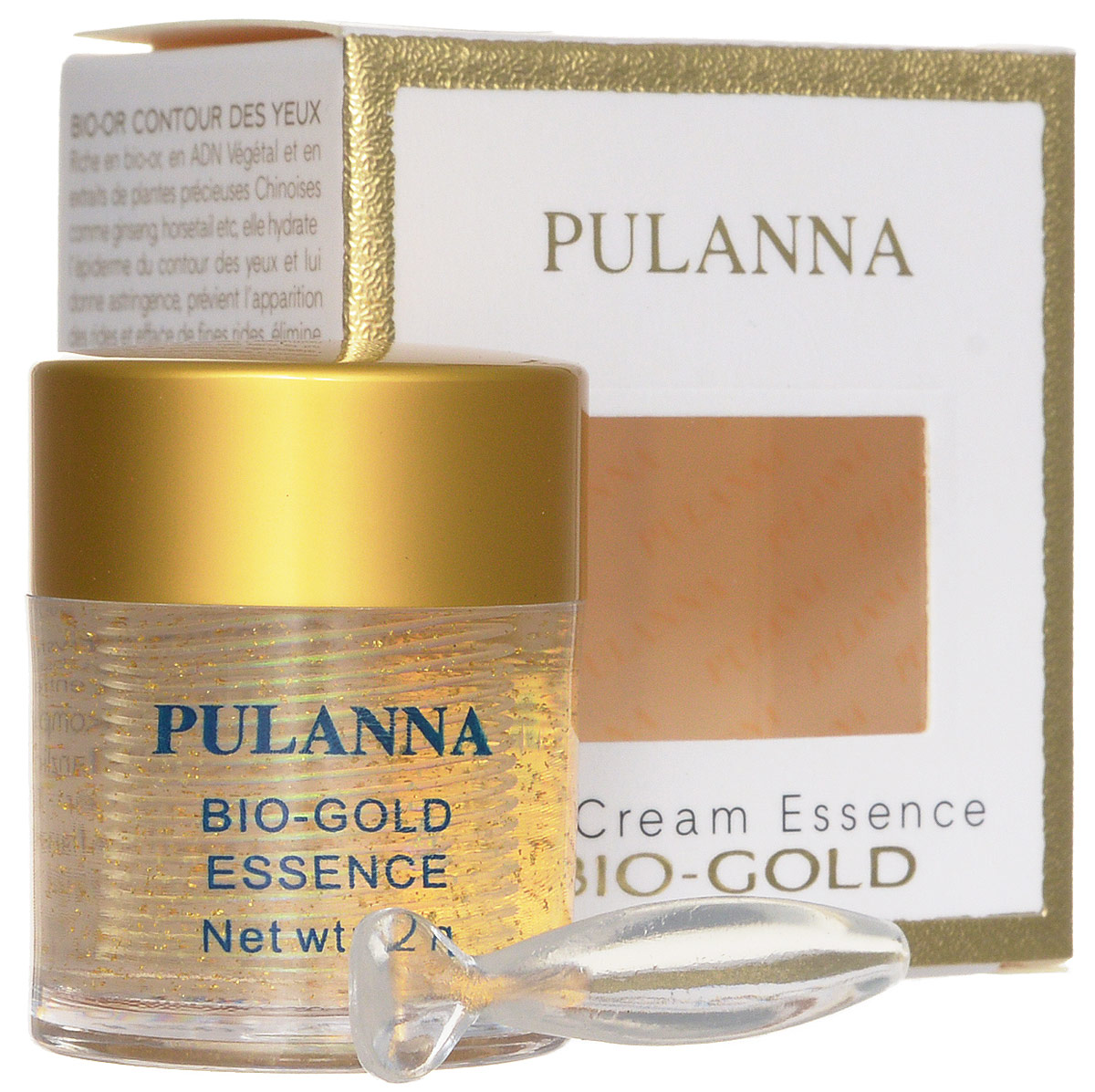 Pulanna Био-золотой гель для век на основе био-золота - Bio-gold Essence 21 г5902596005030Обогащенный гель с эффектом лифтинга. Осуществляет глубокое питание, регулирует обменные процессы, ускоряет регенерацию клеток, восполняет дефицит липидов в коже, увлажняет, нормализует кровоснабжение. Возвращает нежной коже век упругость и свежесть, активно борется с морщинами и предотвращает их появление. Снимает отечность, уменьшает темные круги под глазами. Обеспечивает коже длительное, глубокое увлажнение и питание. Био-золото, экстракт хвоща и экстракт женьшеня способствуют обновлению клеток, нормализации водно-жирового и кислородного обмена. Растительные ДНК участвуют в синтезе белков, регенерации клеток кожи. Является базой под макияж.Рекомендован с 40 лет в качестве основного ухода, с 35 лет курсами (28-30 дней).