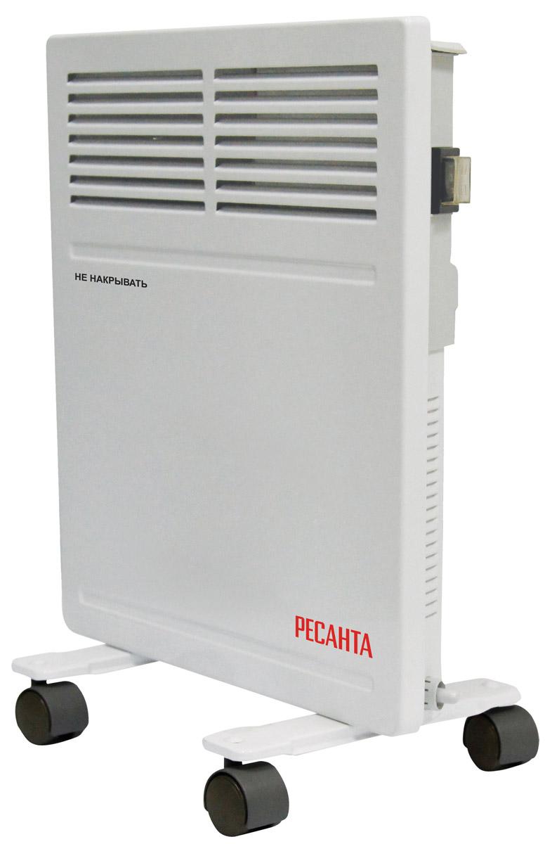 Ресанта ОК-500 конвектор67/4/9Конвектор Ресанта ОК-500 предназначен для обогрева и поддержания заданной температуры в помещениях различного назначения. Холодный воздух, находящийся в нижней части помещения, проходит через нагревательный элемент конвектора, увеличиваясь в объеме в момент нагрева, теплый поток устремляется вверх через жалюзи выходной решетки и плавно распространяется. При этом направление потока, заданное наклоном жалюзи, создает благоприятную, ускоренную циркуляцию теплого воздуха внутри помещения, не рассредоточивая его на стены и окна.