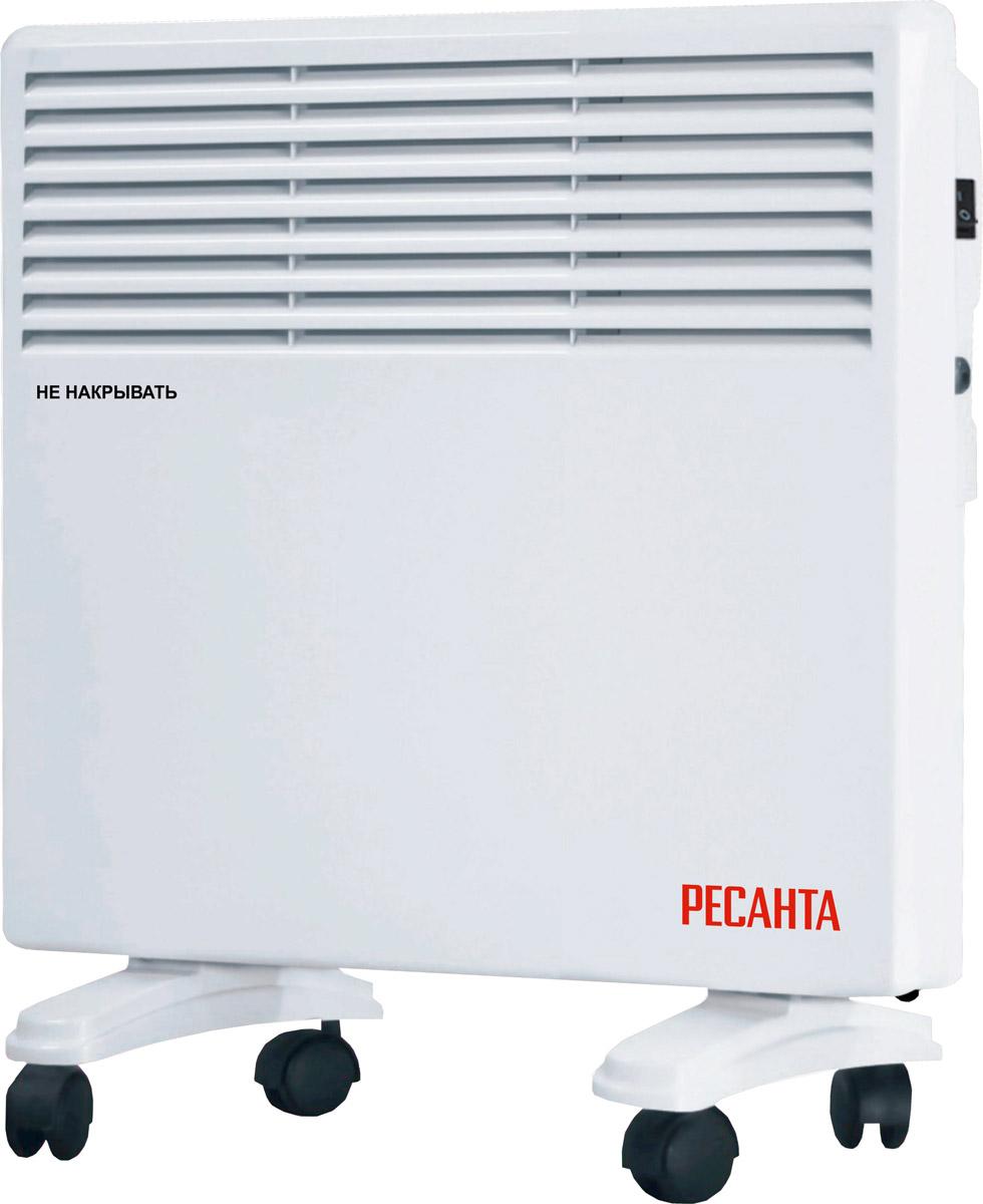 Ресанта ОК-500Е (LED) конвектор67/4/11Конвектор Ресанта ОК-500Е предназначен для обогрева и поддержания заданной температуры в помещениях различного назначения. Холодный воздух, находящийся в нижней части помещения, проходит через нагревательный элемент конвектора, увеличиваясь в объеме в момент нагрева, теплый поток устремляется вверх через жалюзи выходной решетки и плавно распространяется. При этом направление потока, заданное наклоном жалюзи, создает благоприятную, ускоренную циркуляцию теплого воздуха внутри помещения, не рассредоточивая его на стены и окна.
