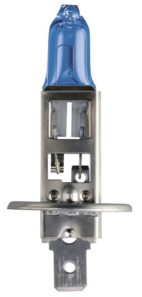 Лампа автомобильная галогенная Philips DiamondVision, для фар, цоколь H1 (P14,5s), 12V, 55W12258DVB1 (бл.)Автомобильная галогенная лампа Philips DiamondVision произведена из запатентованного кварцевого стекла с УФ фильтром Philips Quartz Glass. Кварцевое стекло Philips в отличие от обычного твердого стекла выдерживает гораздо большее давление смеси газов внутри колбы, что препятствует быстрому испарению вольфрама с нити накаливания. Кварцевое стекло выдерживает большой перепад температур, при попадании влаги на работающую лампу изделие не взрывается и продолжает работать. Лампа DiamondVision с чистым белым светом, цветовой температурой 5000 K и стильным эффектом холодного белого ксенонового света идеально подходит для водителей, которые хотят придать индивидуальный стиль своему автомобилю. Автомобильные галогенные лампы Philips удовлетворят все нужды автомобилистов: дальний свет, ближний свет, передние противотуманные фары, передние и боковые указатели поворота, задние указатели поворота, стоп-сигналы, фонари заднего хода, задние противотуманные фонари, освещение номерного знака, задние габаритные/стояночные фонари, освещение салона.