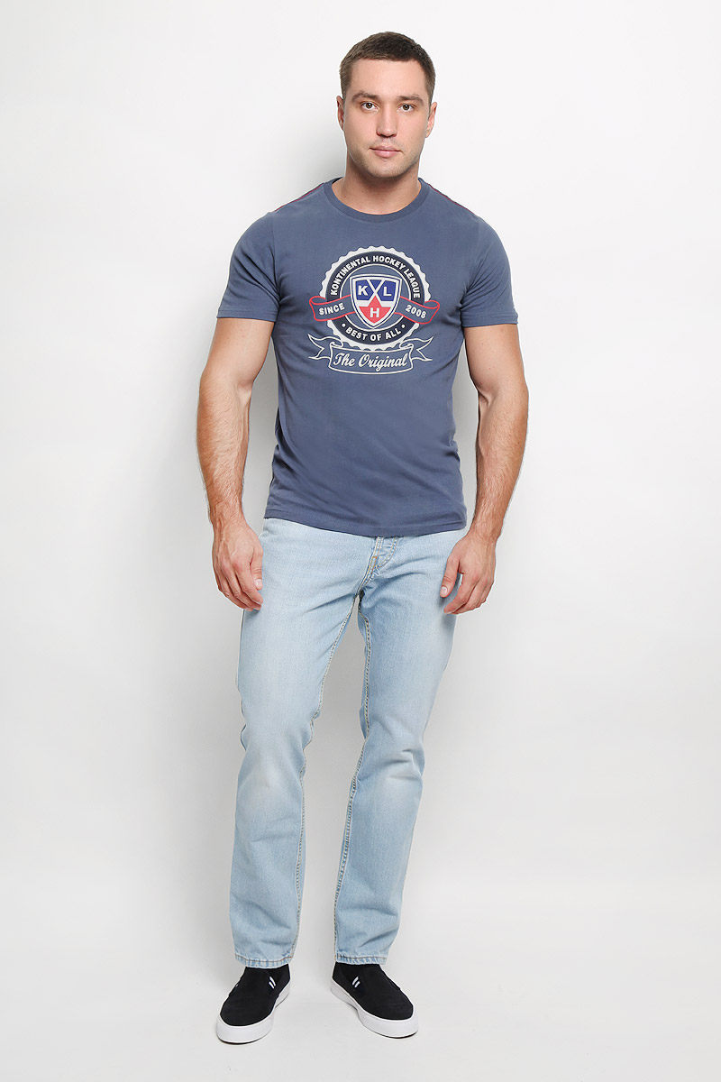 Футболка мужская КХЛ, цвет: серо-синий. 310110. Размер XS (46)