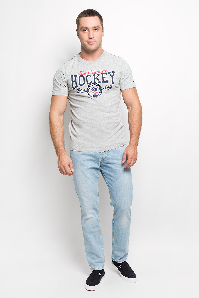 Футболка мужская КХЛ, цвет: серый меланж. 26920. Размер XXL (56) - Хоккей