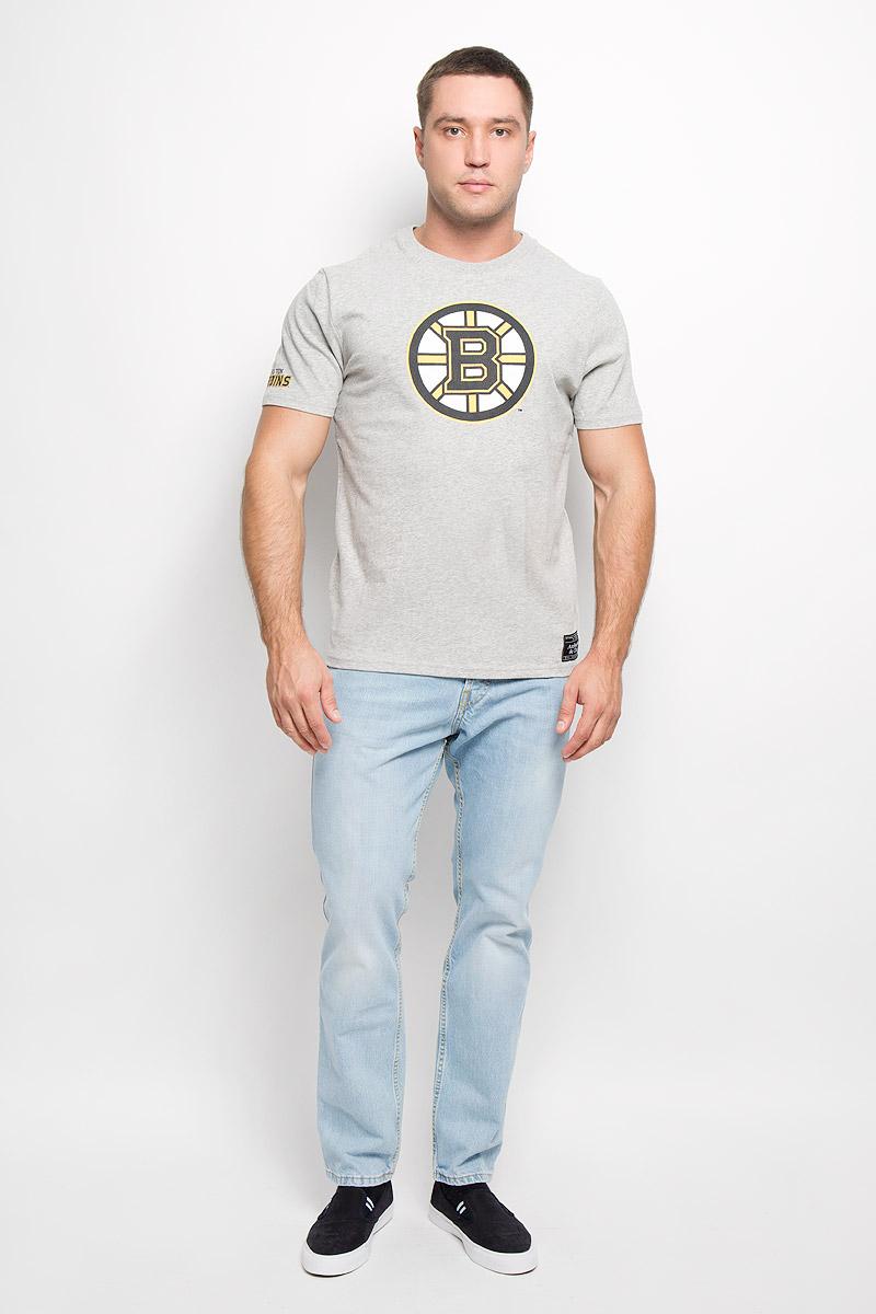 Футболка мужская NHL Boston Bruins, цвет: серый меланж. 29170. Размер XS (44)