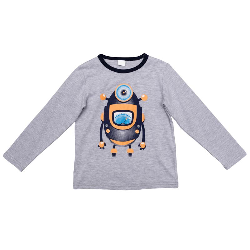 Лонгслив для мальчика PlayToday, цвет: серый меланж, оранжевый. 361072. Размер 116361072Уютный лонгслив для мальчика выполнен из органического хлопка и оформлен резиновым принтом с изображением забавного робота. Воротник дополнен контрастной эластичной бейкой. Универсальный цвет позволяет сочетать модель с любой одеждой.