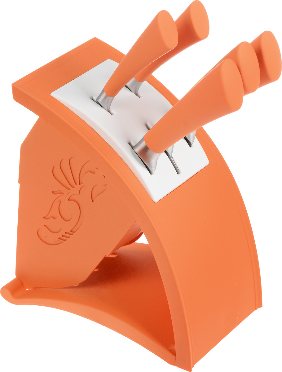"""Набор ножей """"Moonstar"""" включает 5 ножей (поварской, для хлеба, слайсер или разделочный, универсальный, для очистки овощей) и подставку. Лезвия ножей выполнены из качественной нержавеющей стали 3Cr13, рукоятки изготовлены из пластика с мягким на ощупь прорезиненным покрытием. Ножи обладают отличными режущими свойствами, долговечны и практичны в эксплуатации. Такой набор ножей идеально подойдет для ежедневной резки фруктов, овощей, мяса и других продуктов. Для хранения ножей предусмотрена стильная оригинальная подставка. Длина лезвия поварского ножа: 20,32 см. Общая длина поварского ножа: 33,5 см. Длина лезвия ножа для хлеба: 20,32 см. Общая длина ножа для хлеба: 33 см. Длина лезвия разделочного ножа: 20,32 см. Общая длина разделочного ножа: 33,5 см. Длина лезвия универсального ножа: 12,7 см. Общая длина универсального ножа: 24,5 см. Длина лезвия ножа для чистки овощей: 8,89 см. Общая длина ножа для чистки овощей: 21,5 см. Размер подставки: 12 х 21 х 23 см."""