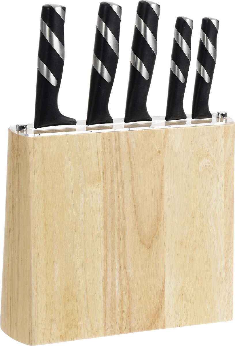 """Набор ножей """"Moonstar"""" включает 5 ножей (поварской, для хлеба, слайсер или разделочный, универсальный, для очистки овощей) и подставку. Прочные и острые лезвия ножей выполнены из качественной нержавеющей стали 3Cr13. Рукоятки изделий, изготовленные из полипропилена со стальными вставками, имеют эргономичную форму для надежного хвата и меньшей усталости при работе. Ножи обладают отличными режущими свойствами, долговечны и практичны в эксплуатации. Такой набор ножей идеально подойдет для ежедневной резки фруктов, овощей, мяса и других продуктов. Для хранения ножей предусмотрена стильная оригинальная подставка, выполненная из дерева дуба. Длина лезвия поварского ножа: 20,32 см. Общая длина поварского ножа: 32,5 см. Длина лезвия ножа для хлеба: 20,32 см. Общая длина ножа для хлеба: 33 см. Длина лезвия разделочного ножа: 20,32 см. Общая длина разделочного ножа: 33 см. Длина лезвия универсального ножа: 12,7 см. Общая длина универсального ножа: 23,5 см. Длина лезвия ножа для чистки овощей: 8,89 см. Общая длина ножа для чистки овощей: 20 см. Размер подставки: 27 х 7 х 22 см."""