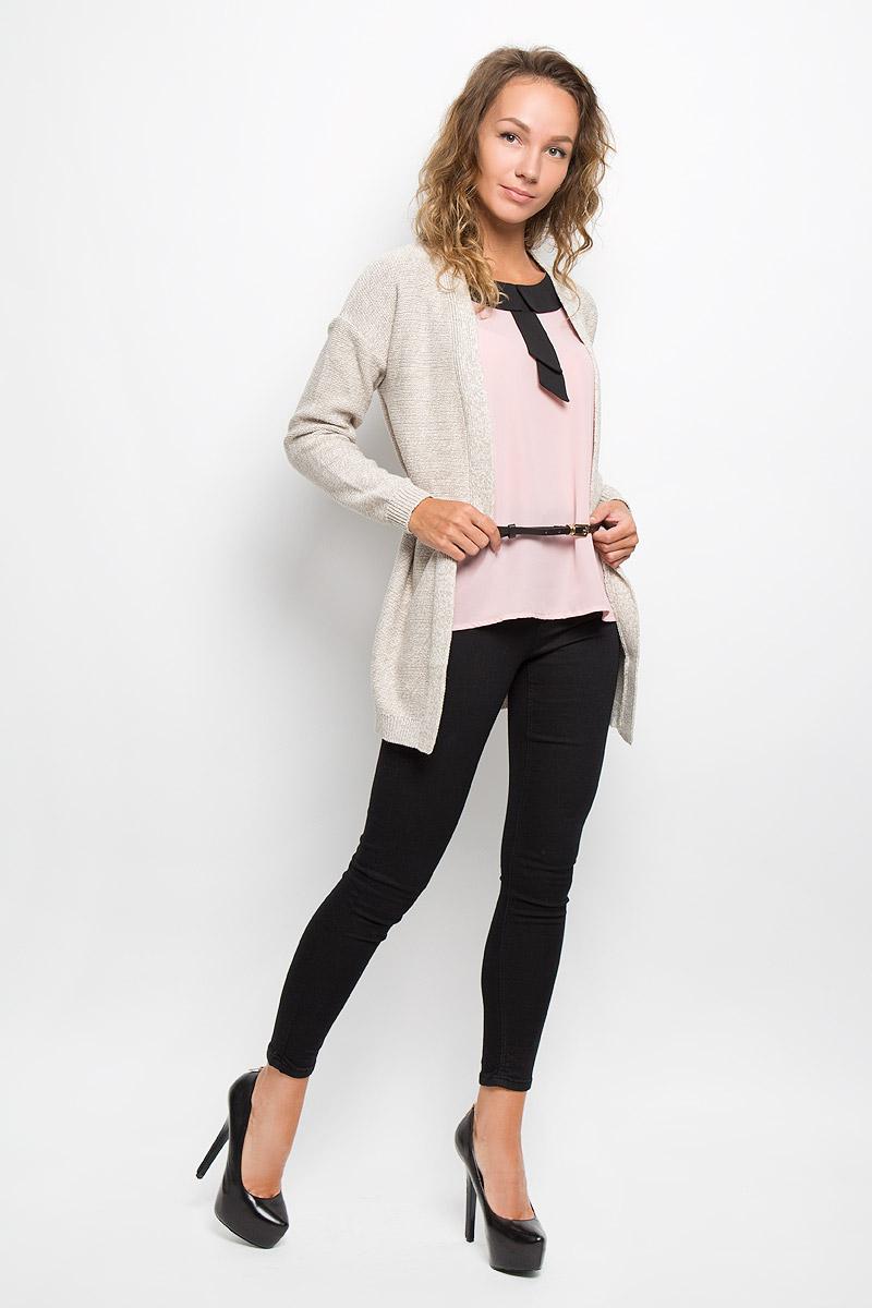 Купить Кардиган женский Sela Casual, цвет: серо-бежевый меланж. CN-114/1074-6372. Размер XL (50)