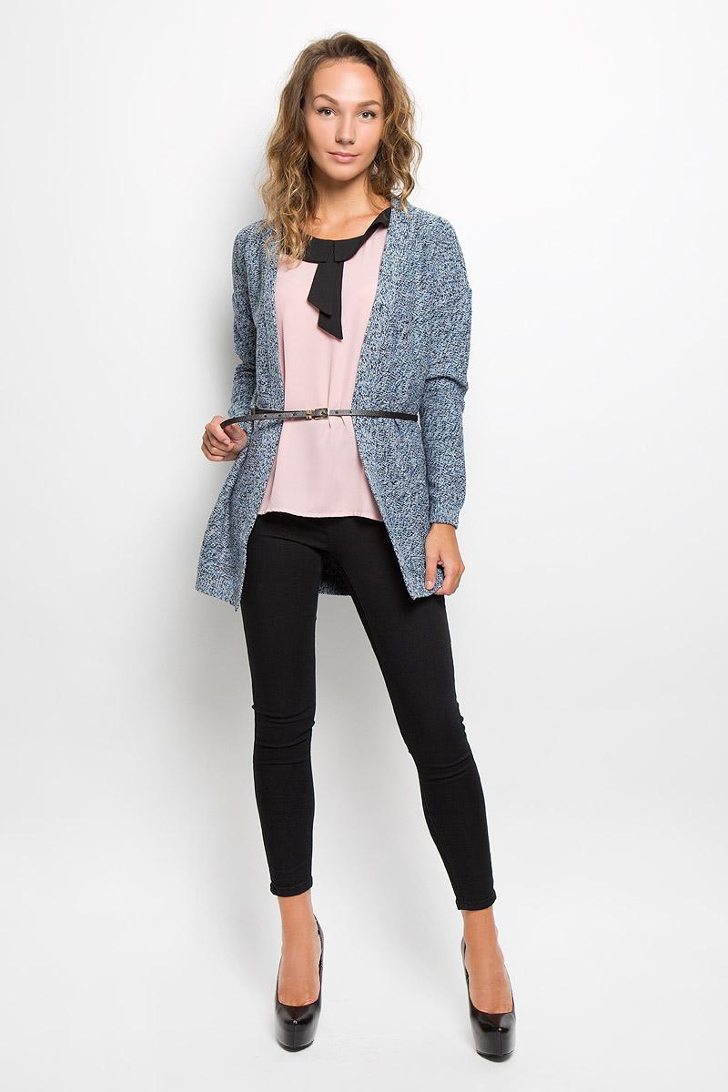 Купить Кардиган женский Sela Casual, цвет: голубой, черный, бежевый. CN-114/1074-6372. Размер L (48)