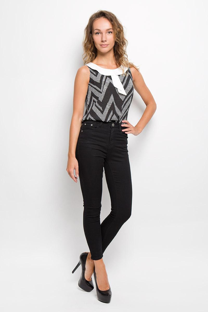 Блузка женская Sela, цвет: черный, белый. Twsl-112/1107-6321. Размер S (44) цена 2017
