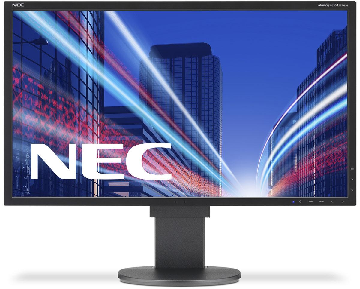 NEC EA223WM-BK, Black монитор60003294Модель NEC EA223WM отличается очень тонкой панелью со светодиодной подсветкой, поэтому данная модельобладает ультрасовременным дизайном в сочетании с превосходным набором характеристик для эксплуатации вофисе. Датчик рассеянного света и датчик присутствия проводят в жизнь концепцию защиты окружающей средыпри сохранении улучшенных эргономических характеристик с механизмом регулировки высоты 130 мм. Кроме того,дисплей предлагает широкие возможности соединения благодаря трем входам DisplayPort, DVID и D-Sub.Датчик рассеянного света – благодаря функции автоматической яркости Auto Brightness всегда можнооптимизировать уровень яркости в зависимости от освещения и условий изображения.Эргономические характеристики – регулировка по высоте (130 мм), функция наклона и плоский режимобеспечивают идеальную возможность индивидуальной эргономичной настройки.Идеальный набор функциональных возможностей для офисной эксплуатации – встроенные динамики, гнездо дляподключения наушников и USB-хаб обеспечивают отличные опции для офисной коммуникации.Датчик присутствия человека – определяет присутствие человека перед экраном и автоматически включает иливыключает экран для экономии электроэнергии.