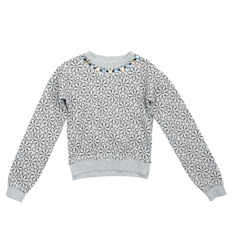 Толстовка для девочки PlayToday, цвет:  серый меланж, черный.  362160.  Размер 104 PlayToday
