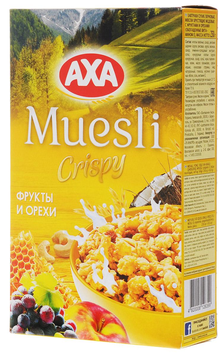 АХА мюсли хрустящие в меду с фруктами и орехами, 250 г удачного дня 870775