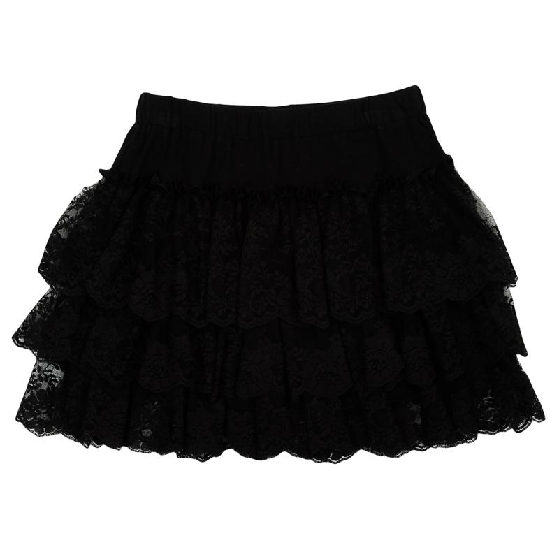 Юбка для девочки PlayToday, цвет: черный. 362176. Размер 104362176Пышная юбка для девочки выполнена из мягкого трикотажа. Классический черный цвет смягчен женственным декором - легкими воланами из гипюра в три ряда. Пояс на мягкой резинке.