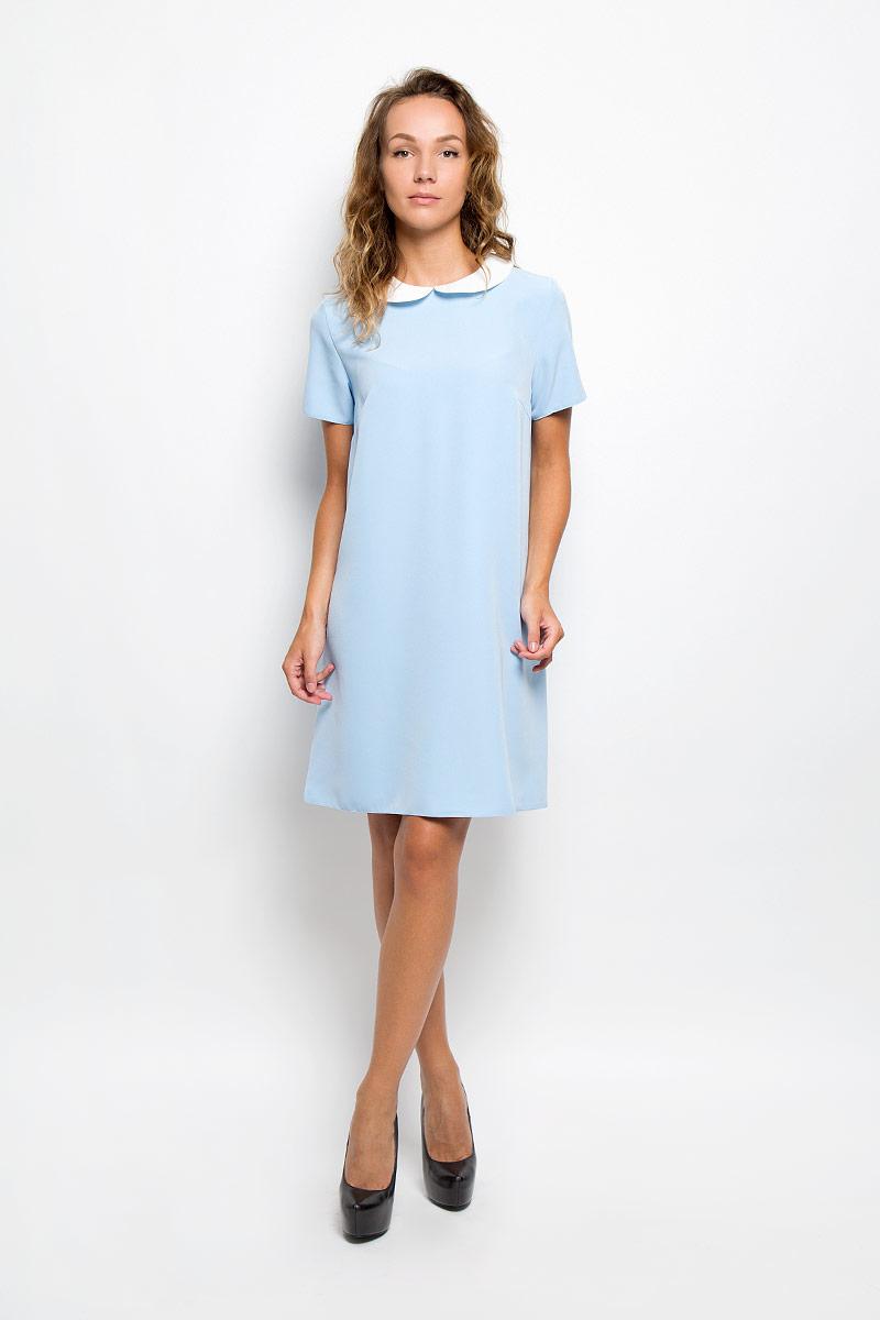 Платье F5, цвет: голубой, белый. 13839. Размер M (46)13839Элегантное платье F5 выполнено из высококачественного комбинированного материала. Такое платье обеспечит вам комфорт и удобство при носке и непременно вызовет восхищение у окружающих.Модель средней длины с короткими рукавами и отложным воротником выгодно подчеркнет все достоинства вашей фигуры. Сзади изделие застегивается на пуговичку. Изысканное платье-миди создаст обворожительный и неповторимый образ.Это модное и комфортное платье станет превосходным дополнением к вашему гардеробу, оно подарит вам удобство и поможет подчеркнуть ваш вкус и неповторимый стиль.