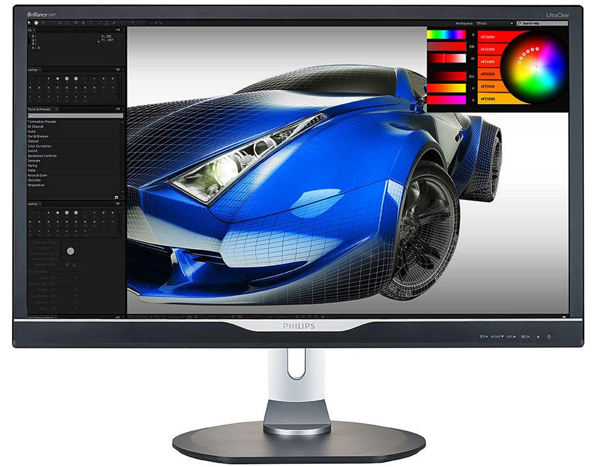 Philips 288P6LJEB (00/01), Black монитор288P6LJEB (00/01)Дисплей Philips 288P6LJEB оснащен качественной панелью и обеспечивает невероятно четкое изображение в формате 4K UHD (3840 x 2160). Дисплей Philips с кристально чистым изображением подойдет и требовательным к деталям профессионалам, работающим с программами CAD, и специалистам по 3D-графике, и финансистам, имеющим дело с огромными таблицами.SmartResponse представляет собой эксклюзивную технологию ускорения от Philips, которая при включении автоматически настраивает время отклика в соответствии с определенными требованиями приложений, например игр и фильмов, для которых необходимо более быстрое время отклика для создания изображений без дрожания, запаздывания, а также без остаточного изображения.SmartErgoBase — это подставка под монитор для удобного и эргономичного расположения дисплея и организации кабелей. Регулировка высоты, разворота, наклона и угла поворота обеспечивает максимальный комфорт пользователя и уменьшает физическую усталость в течение рабочего дня, а возможность организации кабелей уменьшает беспорядок и придает рабочему месту профессиональный вид.Благодаря усовершенствованной подставке SmartErgoBase монитор Philips можно опустить практически до уровня стола и оптимально отрегулировать угол обзора. Малое расстояние между рамкой и столом - идеальное решение для тех, кто за компьютером использует очки с бифокальными, трифокальными или прогрессивными линзами. Кроме того такая конструкция позволяет пользователям с очень разным ростом менять угол и высоту монитора под себя, сокращая усталость и напряжение при работе.Mobile High Definition Link (MHL) — это мобильный аудио-/видеоинтерфейс для прямого подключения мобильных телефонов и других портативных устройств к мониторам высокой четкости. При помощи дополнительного кабеля MHL вы можете подключать свое мобильное устройство, оснащенное технологией MHL, к этому большому MHL-дисплею Philips и смотреть HD-видео в прекрасном качестве и с цифровым звуком. 