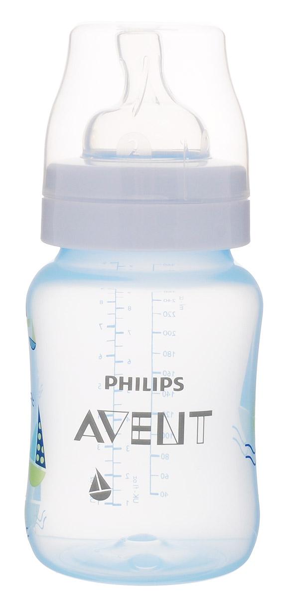Philips Avent Бутылочка голубая c рисунком (Кораблик), Classic+, 260 мл, 1шт SCF573/12 -  Бутылочки