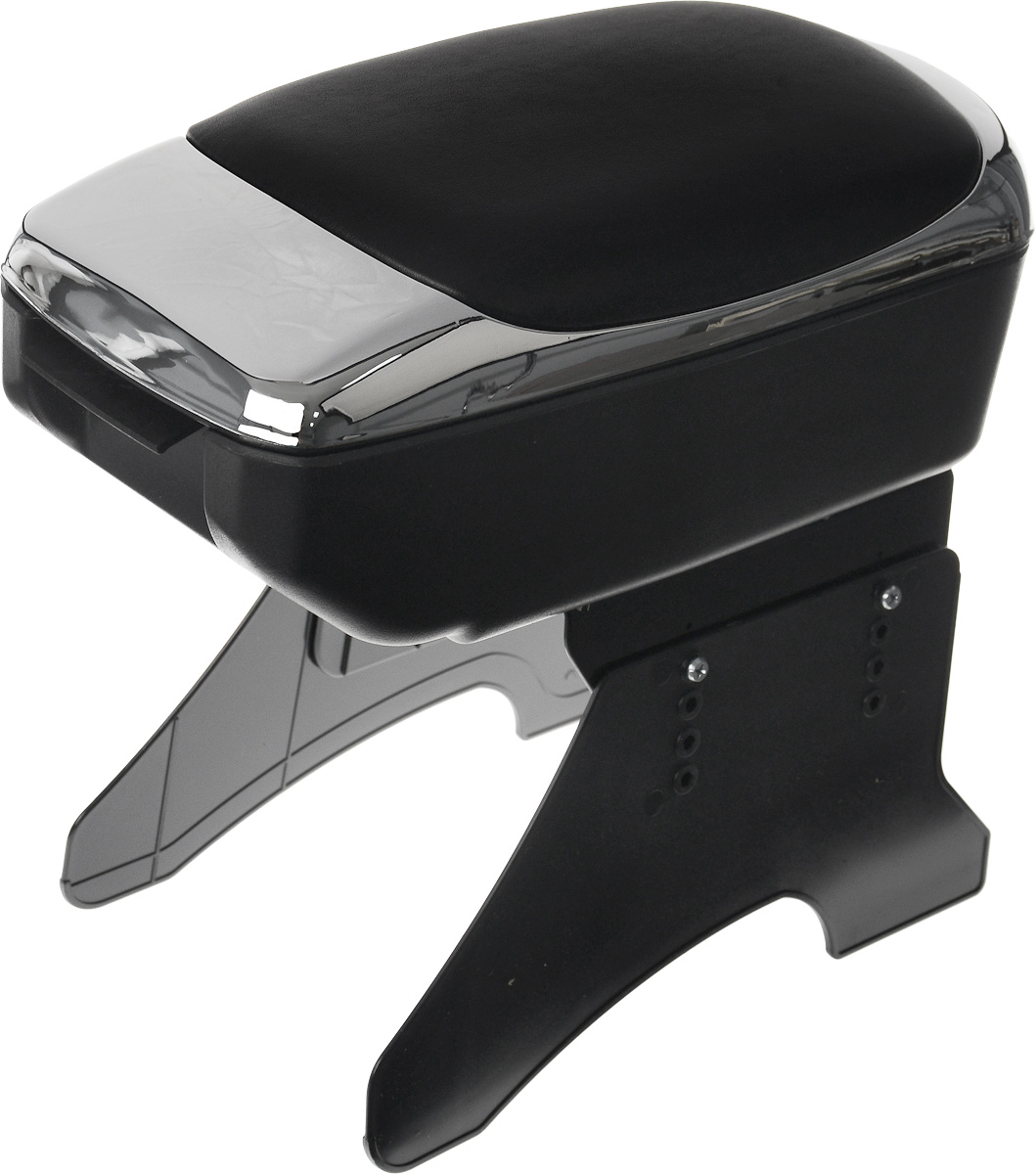 Подлокотник универсальный Azard, цвет: хром, черныйbar00096Универсальный подлокотник Azard изготовлен из прочного пластика и снабжен мягкой вставкой из искусственной кожи. Практичный подлокотник оснащен просторным отсеком. Также имеется небольшая секция для мелочей. Закрывается на замок. Откидывающаяся крышка мягкая и прочная, она послужит удобной опорой для руки при вождении автомобиля. Подлокотник легко и быстро крепится между передними сиденьями автомобиля при помощи пластиковых ножек (крепеж входит в комплект). Подлокотник отлично вписывается в общую концепцию автомобиля, обеспечивая эргономичное использование пространства. Легко очищается мягкой тканью. Установка подлокотника не требует специальных навыков или инструментов и займет не более 10 минут. Установка подлокотника не снижает уровень безопасности автомобиля, не мешает креплению ремней безопасности, а также обеспечивает свободный доступ к рычагу стояночного тормоза. Модель соответствует стандарту ЕЭК ООН.