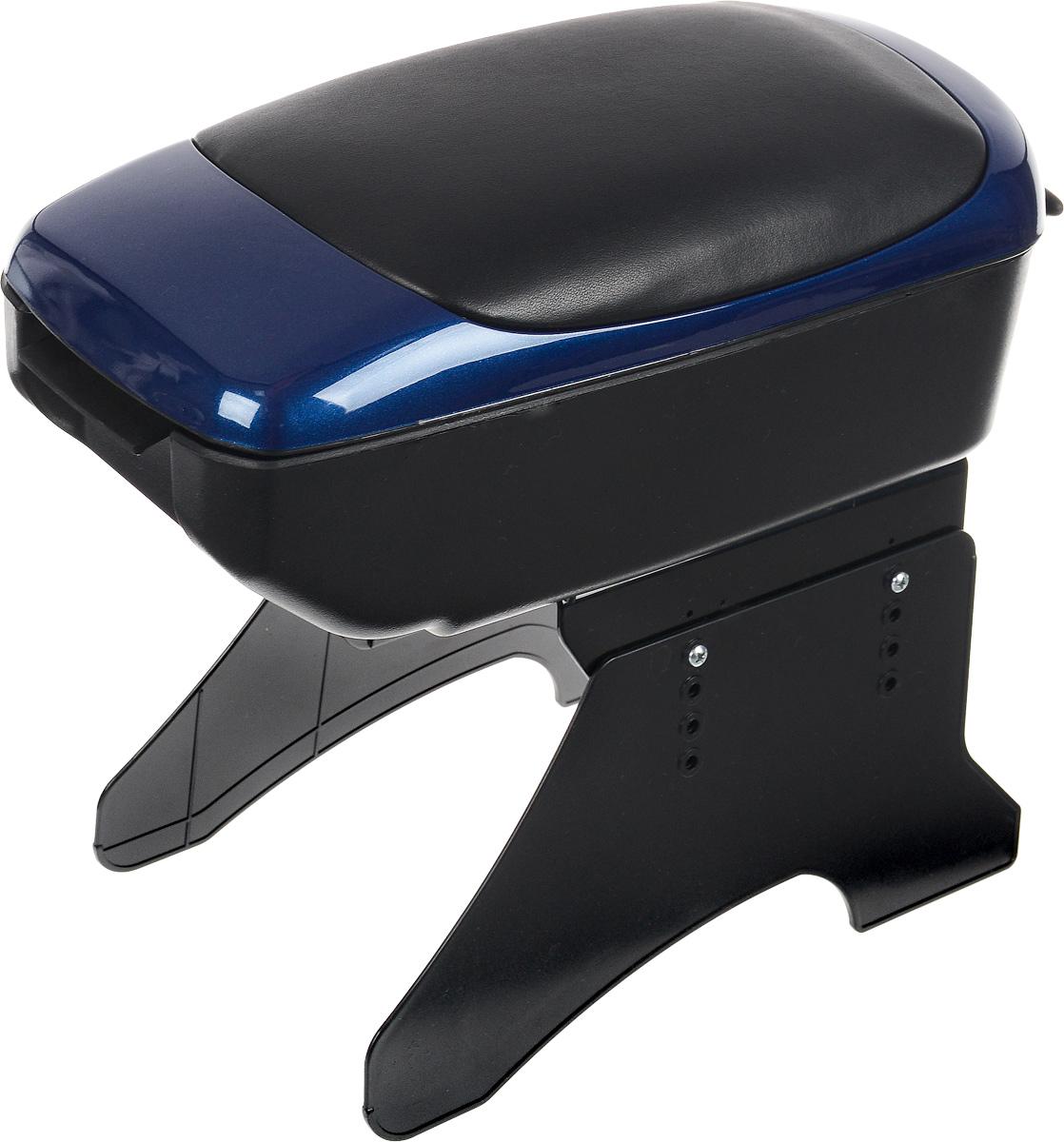 Подлокотник универсальный Azard, цвет: синий, черныйbar00094Универсальный подлокотник Azard изготовлен из прочного пластика и снабжен мягкой вставкой из искусственной кожи. Практичный подлокотник оснащен просторным отсеком. Также имеется небольшая секция для мелочей. Закрывается на замок. Откидывающаяся крышка мягкая и прочная, она послужит удобной опорой для руки при вождении автомобиля. Подлокотник легко и быстро крепится между передними сиденьями автомобиля при помощи пластиковых ножек (крепеж входит в комплект). Подлокотник отлично вписывается в общую концепцию автомобиля, обеспечивая эргономичное использование пространства. Легко очищается мягкой тканью. Установка подлокотника не требует специальных навыков или инструментов и займет не более 10 минут. Установка подлокотника не снижает уровень безопасности автомобиля, не мешает креплению ремней безопасности, а также обеспечивает свободный доступ к рычагу стояночного тормоза. Модель соответствует стандарту ЕЭК ООН.