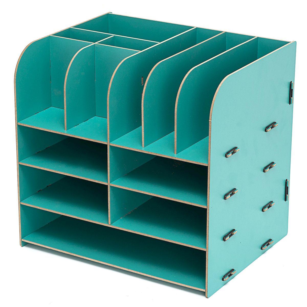 Органайзер настольный Homsu, 13 отделов, цвет: бирюзовый, 32,5 x 25 x 30 смHOM-340Настольный органайзер Homsu выполнен из МДФ и легко собирается из съемных частей. Изделие имеет 13 отделений для хранения документов, канцелярских предметов и всяких мелочей. Органайзер просто незаменим на рабочем столе, он вместителен и не занимает много места. Оригинальный дизайн дополнит интерьер дома и разбавит цвет в скучном сером офисе. Размер: 32,5 х 25 х 30 см.