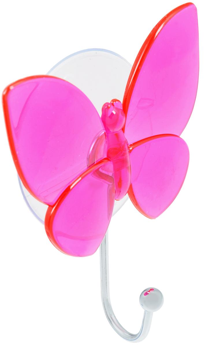 Крючок Top Star Бабочка, на присоске, цвет: малиновый, стальной, 11 х 8 х 3 см175332_малиновыйКрючок Top Star Бабочка изготовлен из хромированной стали и украшен пластиковой вставкой в виде бабочки. Крючок крепится к поверхности при помощи присоски. Для надежности крепления присоску необходимо устанавливать на гладкой, воздухонепроницаемой, очищенной и обезжиренной поверхности. Такой крючок прекрасно впишется в интерьер ванной комнаты и поможет эффективно организовать пространство.