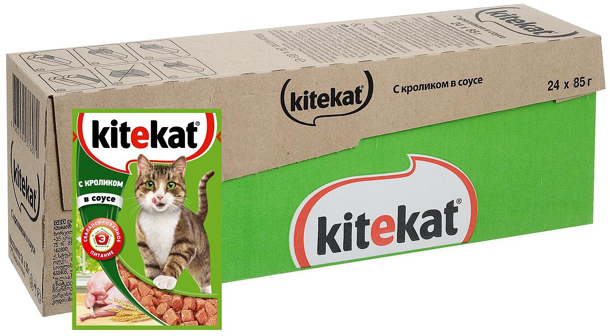 Консервы Kitekat для взрослых кошек, с кроликом в соусе, 85 г х 24 шт консервы dr clauder s для взрослых кошек мясные кусочки в соусе с кроликом и печенью 100 г