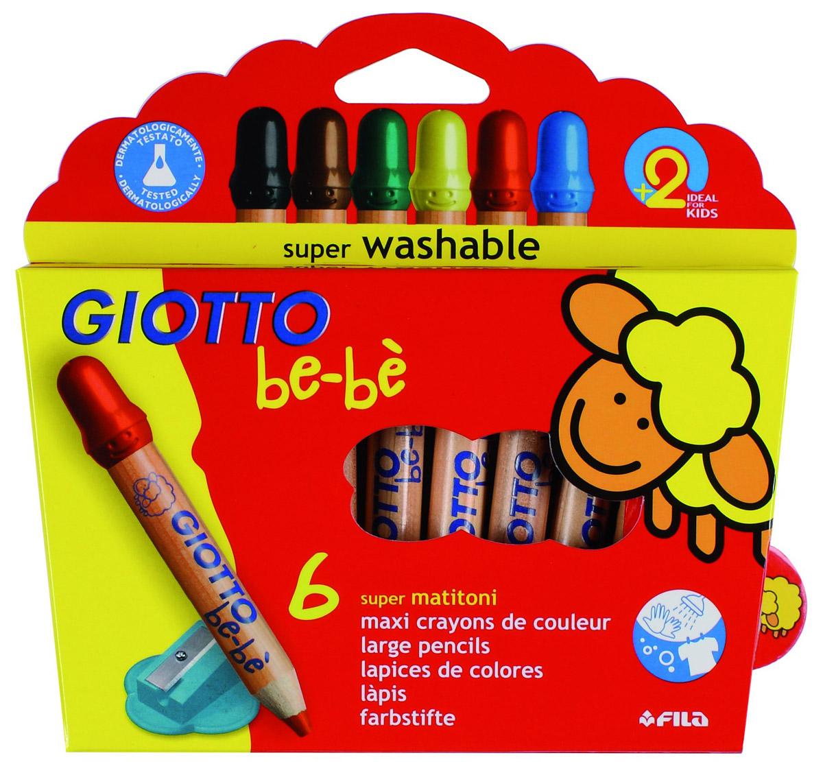 Giotto Набор цветных карандашей Bebe Super Largepencils c точилкой 6 шт giotto cera strong восковые карандаши с добавленим пластика 12цв ластик точилка